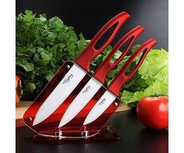 Keramische Keukenmessen met Rood Handvat