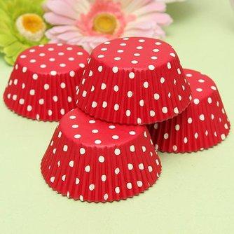 Cupcake Verpakking Polka Red 100 Stuks