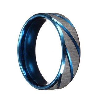 Blauw Zilveren Ring Voor Mannen