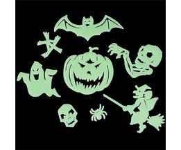 8 stuks Fluorescerende Halloween raamstickers