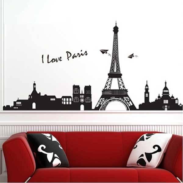 Muursticker Parijs met Eiffeltoren