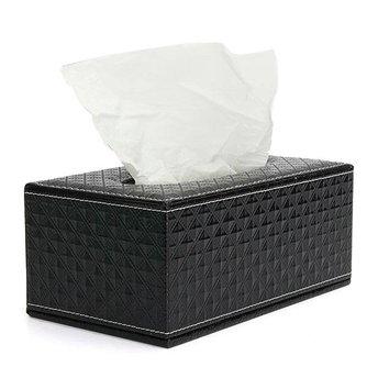 Zwarte Tissue Box Van PU-Leer