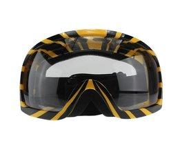 Motorbril Geel Zwart met Transparante Lens