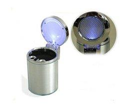 Auto Asbak met LED Verlichting Zilverkleurig