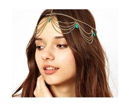 Haarketting met Turquoise Stenen