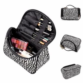 Compacte Make-up Tas met Zebra Print