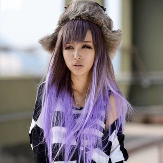 Paarse Pruik van Lang Haar