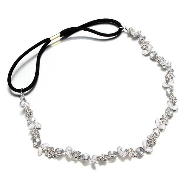 Glitter Haarband van Elastiek met Kristallen Bloemetjes I MyXLshop (SuperTip)