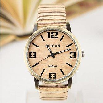 FEIFAN Quartz Horloge met Hout Look Band
