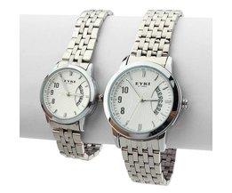 EYKI Horloge voor Hem en Haar met Witte Wijzerplaat