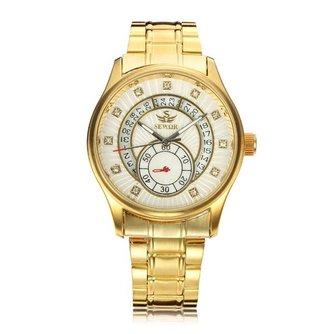 SEWOR Unisex Horloge Vintage Stijl met Kristallen