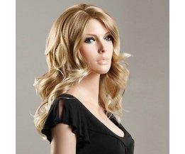 Lange Pruik Blond met Slag