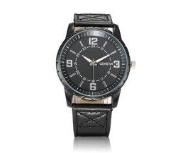 Mooi Horloge voor Mannen met Leren Band en Grote Wijzerplaat