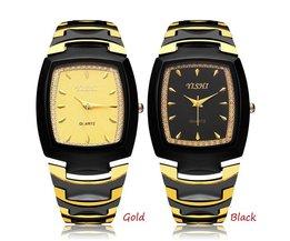 Zwart met Gouden Horloge voor Mannen