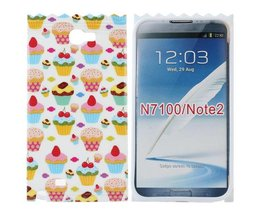 Samsung Note 2 Cover Case met 3D Cupcakes