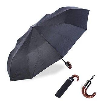 Zwarte Winddichte Paraplu met Klassiek Handvat