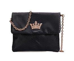Zwarte Handtas Kroon Krokodillenprint