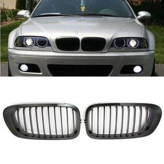BMW E46 Grill 3 Serie Chroom met Zwart (1 Paar)
