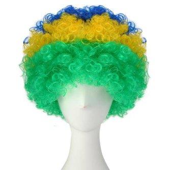 """Feest Pruik """"WK"""" in de Kleuren van de Braziliaanse Vlag"""