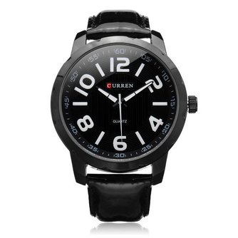 Curren 8115 Zwart Herenhorloge met Grote Wijzerplaat
