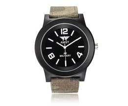 AMST AM3001 Herenhorloge met Canvas Polsband met Legerprint