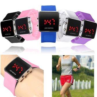 Horloge met LED Verlichting en Siliconen Polsband Unisex