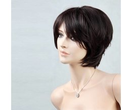 Pruik met Kort Zwart Haar