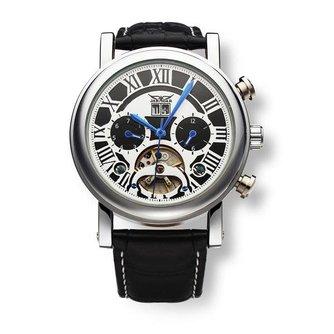 Jaragar Mechanisch Vliegwiel Horloge met Leren Bandje