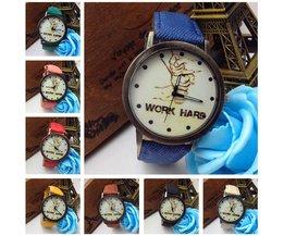 Bijzonder Horloge met Jeans Polsband en Work Hard Tekst