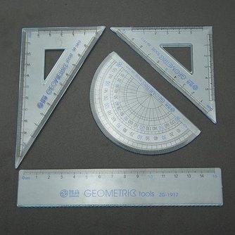 Driehoek Meetlat Gradenboog School Set 4Stuks