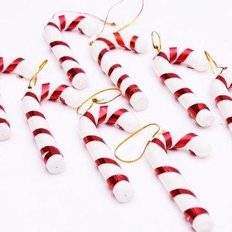 Kerstdecoratie Candy Cane Plastic 10Stuks