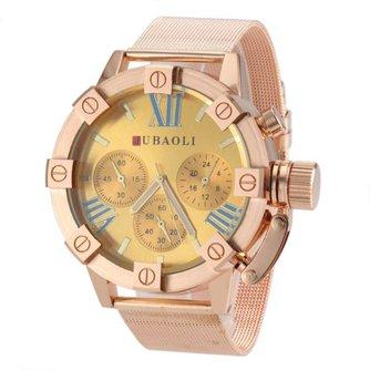 JUBAOLI Unisex Horloge met Grote en Goudkleurige Wijzerplaat