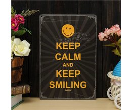 'Keep Smiling' Metalen Bord