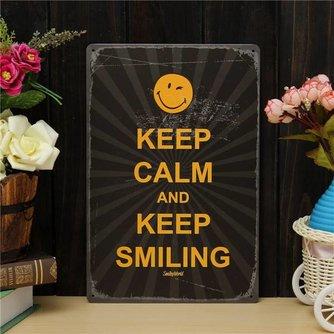 'Keep Smiling' Metalen Bord