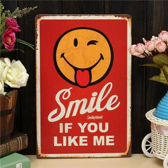 Decoratief Vintage Plaatje van Metaal met Smile If You Like Me