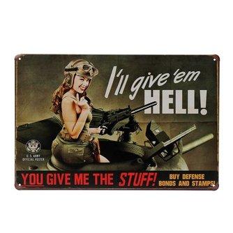 """Tin Bord """"Vrouwelijke Soldaat"""""""