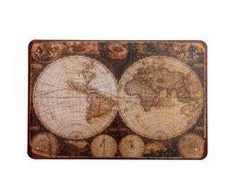 Emaille Bord met Vintage Wereldkaart 30 x 20 cm