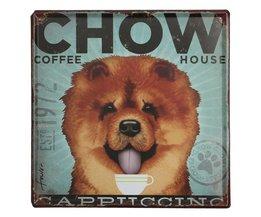 Vintage Bord van Metaal met Afbeelding van een Chowchow Hond 30 x 30 cm