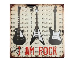 """Rockmuziek Decoratiebord """"I Am Rock"""""""