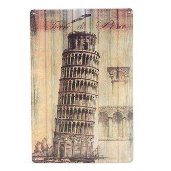 Vintage Metalen Plaat met de Toren van Pisa 20 x 30 cm