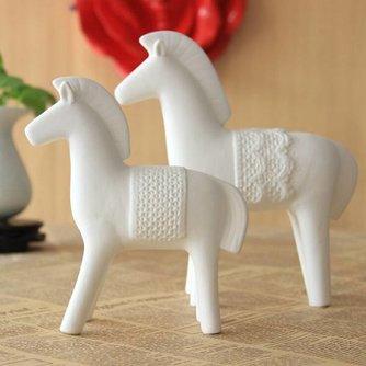 Wit Paardje van Chinees Keramiek S / L