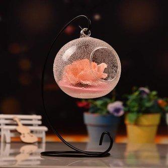 Glazen Mini Vaas met IJzeren Standaard