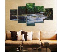 5-Delige Set Canvasdoeken met Waterval Print