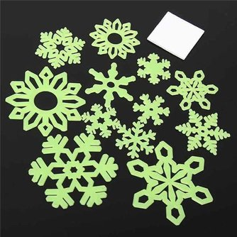 Glow-in-the-Dark Sneeuwvlok Stickers 12 Stuks