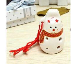 Keramisch Sneeuwpop Fluitje met 6 Gaten voor Kinderen