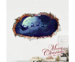 Mooie 3D Muursticker met Kerstman 948 x 580mm
