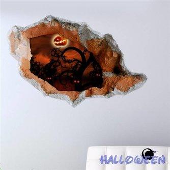 3D Muursticker met Halloween Pompoen