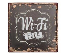 Metalen 'Free Wifi' Bordje