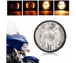 Ronde Koplamp Motor LED met Knipperlichten voor Harley en Honda