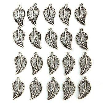 Hangers/Bedels van Tibetaans Zilver in de Vorm van Blaadjes